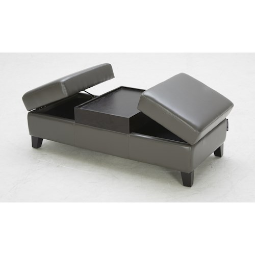 BFW Lifestyle Accent Ottomans Contemporary Cocktail Ottoman with Two Storage Compartments