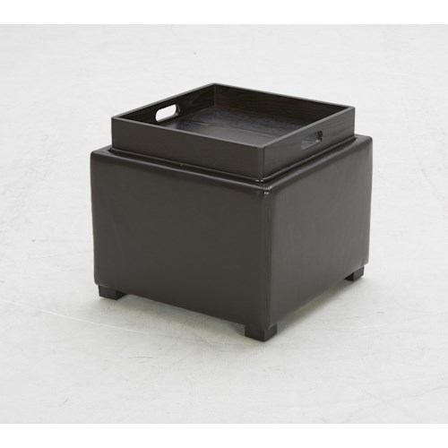 BFW Lifestyle Accent Ottomans Contemporary Storage Ottoman with Built-in Tray