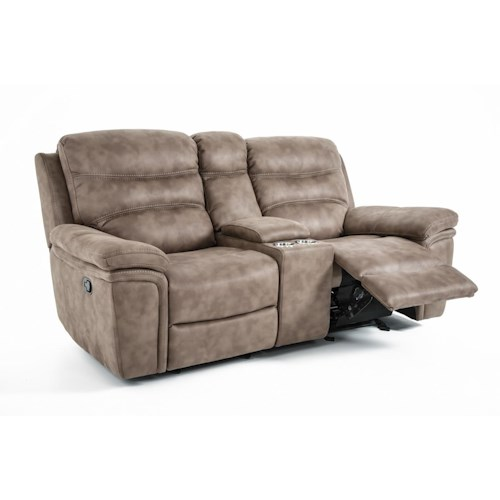 Kuka Home KM008 Casual Power Gliding Reclining Sofa with Cupholders and Storage Console