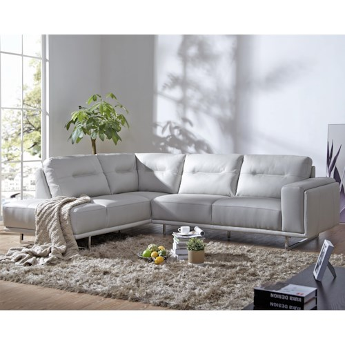 Urban Evolution Spectrum Contemporary Sectional with Metal Base and LAF Chaise