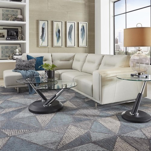 Urban Evolution Darden Contemporary Sectional with Metal Base and LAF Chaise
