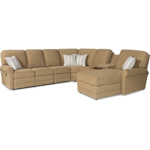 La-Z-Boy Addison Six Piece Power Reclining Sectional Sofa with RAF Chaise and Cupholders