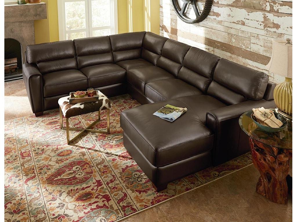 La Z Boy Living Room Set La Z Boy Brody Three Piece Contemporary Leather Sectional Sofa