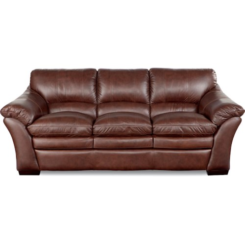 La-Z-Boy Burton Casual Stationary Sofa with Pillow Top Arms and Wood Block Feet