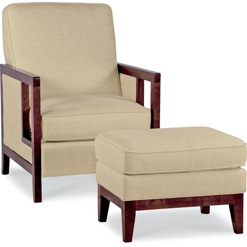 La-Z-Boy Chairs Edge Accent Chair and Ottoman with Exposed Wood