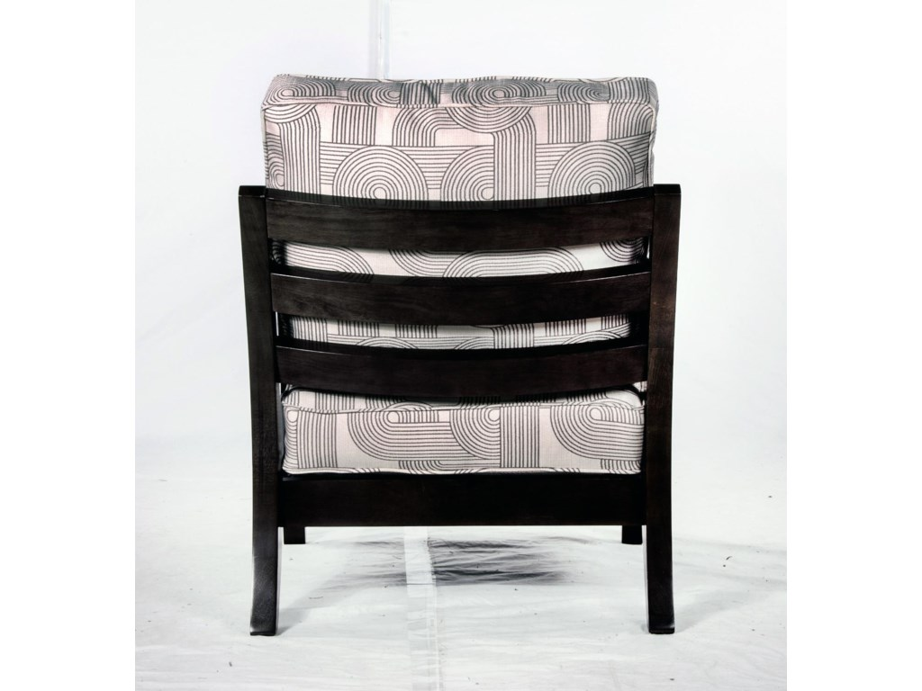 Exposed Wood Back of Chair Shown with Alternate Fabric and Finish