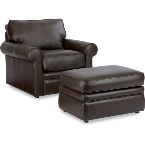 La-Z-Boy Collins Chair with Rolled Arms & Ottoman