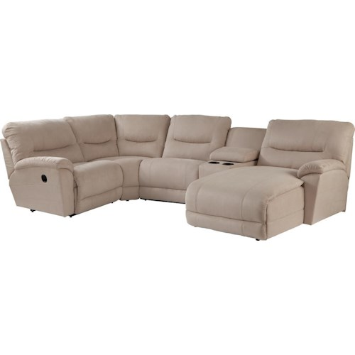 La-Z-Boy Dawson Casual Five Piece Reclining Sectional Sofa with LAS Chaise