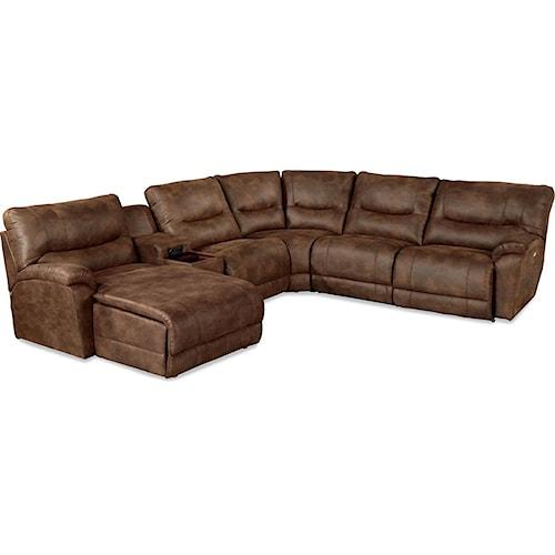 La-Z-Boy Dawson Casual Six Piece Power Reclining Sectional Sofa with LAS Chaise