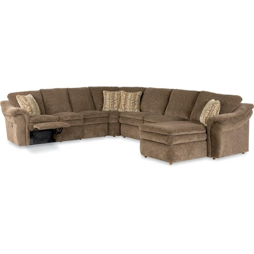 La-Z-Boy Devon  5 Piece Power Reclining Sectional with Left Arm Chaise and 2 Recliners