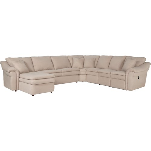 La-Z-Boy Devon  5 Piece Power Reclining Sectional with RAS Chaise and 2 Recliners