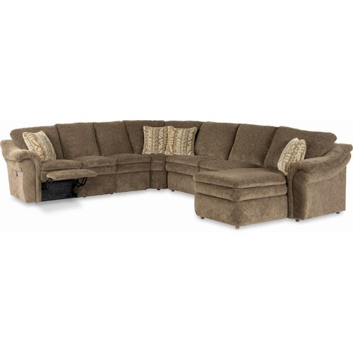 La-Z-Boy Max 5 Piece Sectional with LAS Chaise and Power Recline Loveseat