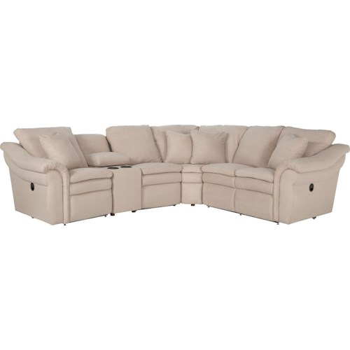 La-Z-Boy Devon  5 Pc Reclining Sectional Sofa with Cupholders and RAS Recliner