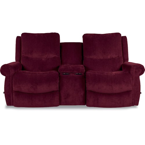 La-Z-Boy DUNCAN Reclina-Way® Full Reclining Wall-Saver Loveseat with Rolled Arms and Storage Console