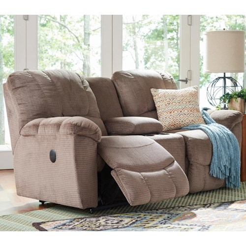 La-Z-Boy Hayes Casual La-Z-Time® Full Reclining Loveseat w/Console and Channel-Stitched Back