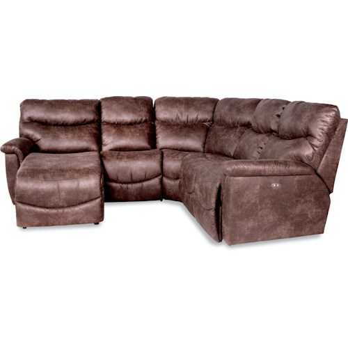 La-Z-Boy Palladin Four Piece Power Reclining Sectional Sofa with RAS Reclining Chaise