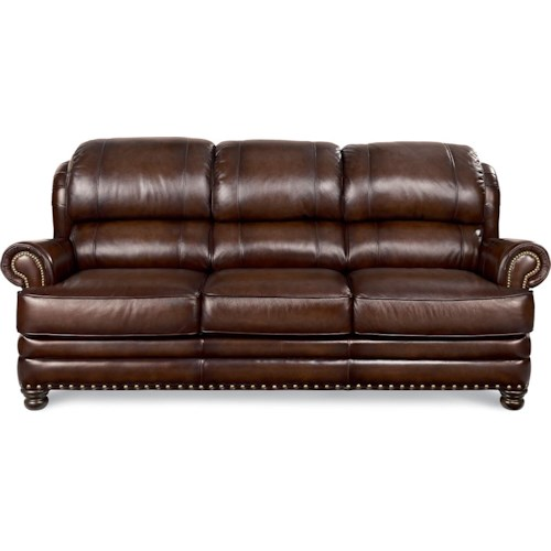 La-Z-Boy JAMISON Traditional Leather Sofa with Turned Arms and Nail Head Trim