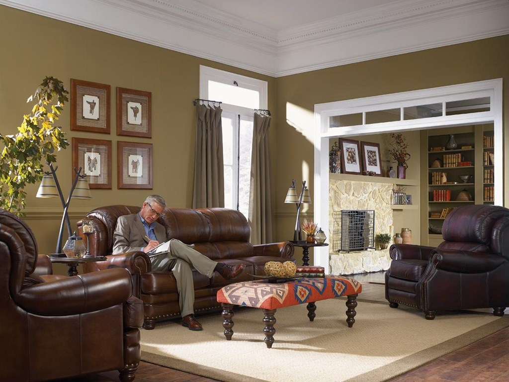 La Z Boy Living Room Set La Z Boy Jamison Traditional Leather Sofa With Turned Arms And
