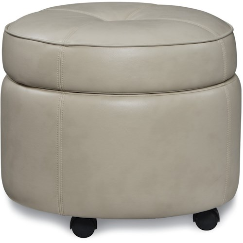 La-Z-Boy Ottomans  U-Turn Round Ottoman with Wood Legs