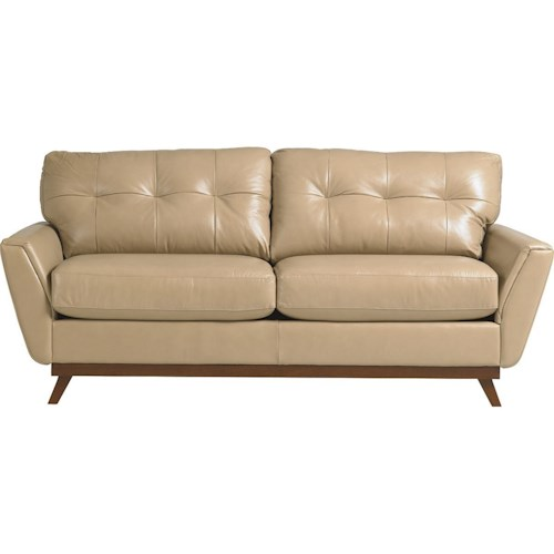 La-Z-Boy Rave Mid Century Modern Sofa with Tufted Back Cushions and Flared Arms