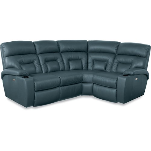 La-Z-Boy Spectator 4 Pc Power Reclining Sectional Sofa with Lighting Cuphlders
