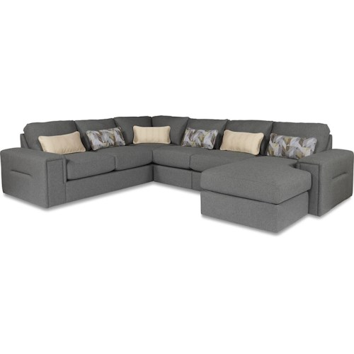 La-Z-Boy Structure Five Piece Modern Sectional Sofa with Architectural Lines and RAF Chaise