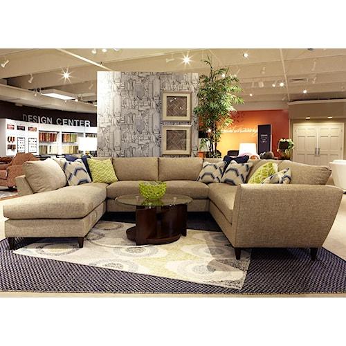 La-Z-Boy Tribeca Contemporary Five Piece Sectional Sofa with RAS Chaise