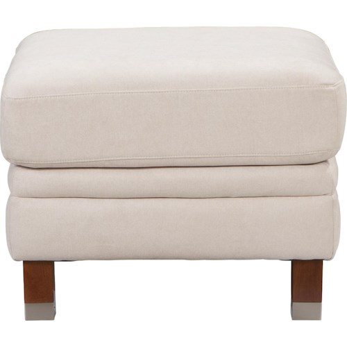 La-Z-Boy UPTOWN Contemporary Premier Ottoman with Modern Metal-Capped Legs