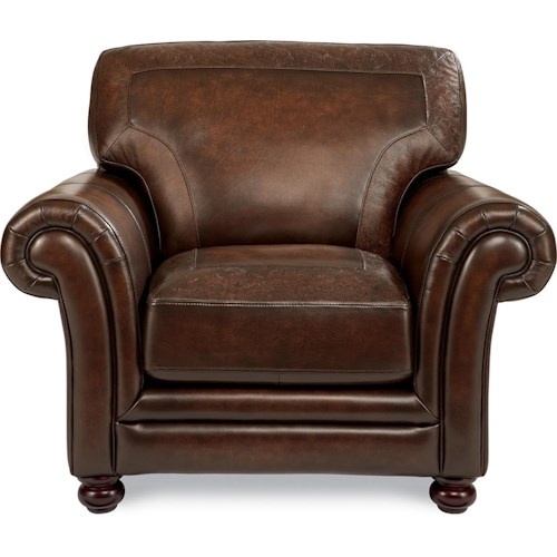 La-Z-Boy William Traditional Stationary Chair with Tooled Leather Cushion Border