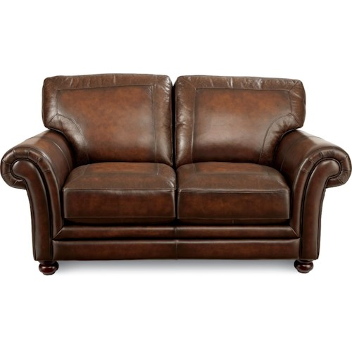 La-Z-Boy William Traditional Loveseat with Exposed Wood Legs and Rolled Arms