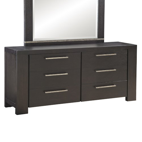 Morris Home Furnishings Metropolis Casual 6 Drawer Dresser with Rusted Chrome Handles