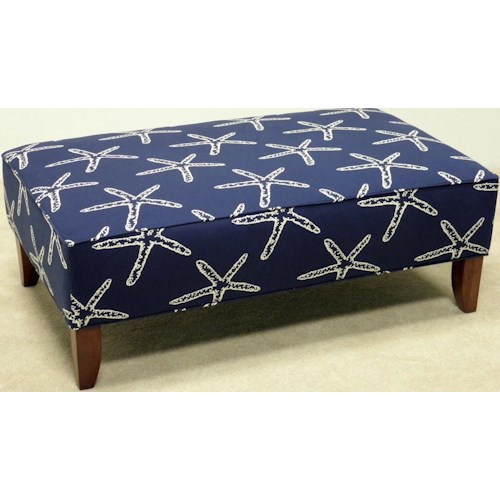 LaCrosse 12510A Upholstered Cocktail Ottoman with Tapered Legs