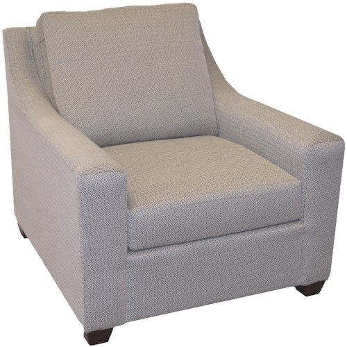 LaCrosse 423 Upholstered Chair with Track Arms and Exposed Wooden Legs