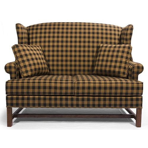 Lancer HomeSpun High Wing Back Settee with Rolled Arms
