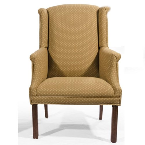 Lancer HomeSpun Wing Back Chair with Rolled Arms and Chippendale Legs