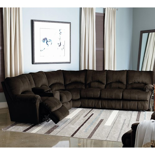 Lane Alpine Power Reclining Sectional with Storage Console and Queen Sleeper