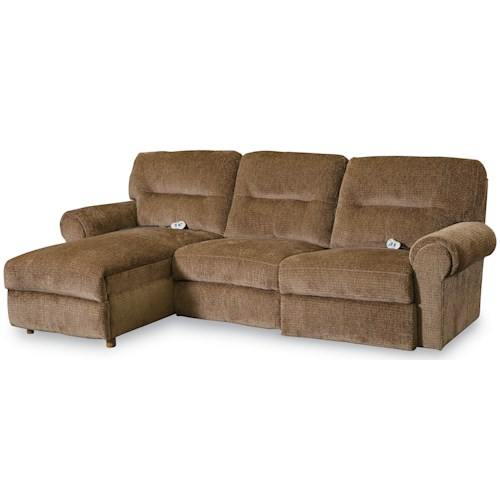 Lane Brandon Casual 3 Piece Reclining Sectional with Power Chaise