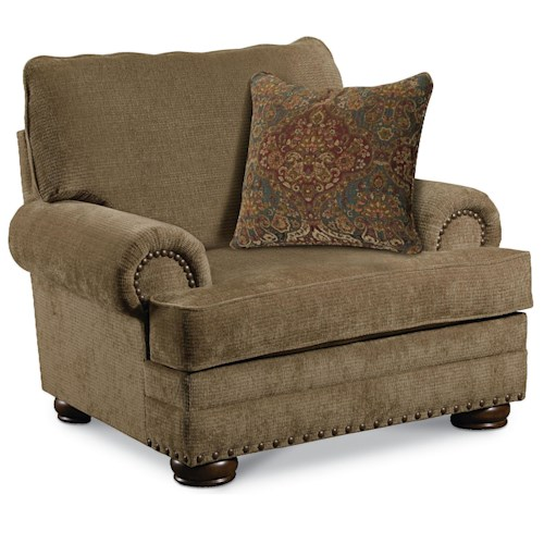 Lane Cooper Traditional Stationary Chair with Nailhead Trim and Bun Feet
