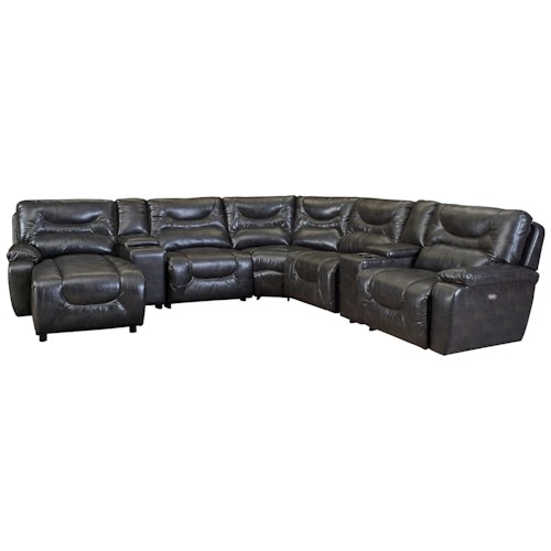 Lane Cruz Power Reclining Leather Sectional with LAF Power Chaise