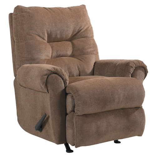 Lane Recliners Soft Padded Rocker Recliner with Pillow Top Arms