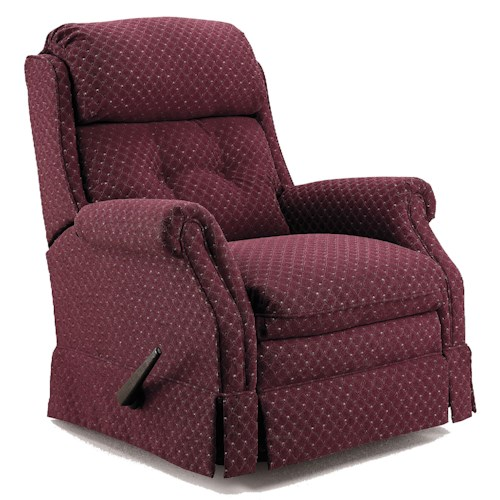 Lane Recliners Traditional Styled Carolina Glider Recliner With Rolled Arms and Skirt
