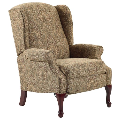 Lane Recliners Hampton Traditional High Leg Recliner in Wing Chair Style
