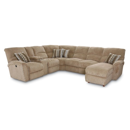 Lane Grand Torino Casual Four Piece Power Sectional Sofa w/ LAF Console Loveseat