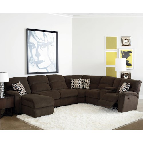 Lane Grand Torino Casual Four Piece Power Sectional Sofa w/ Full Sleeper and Drink Console