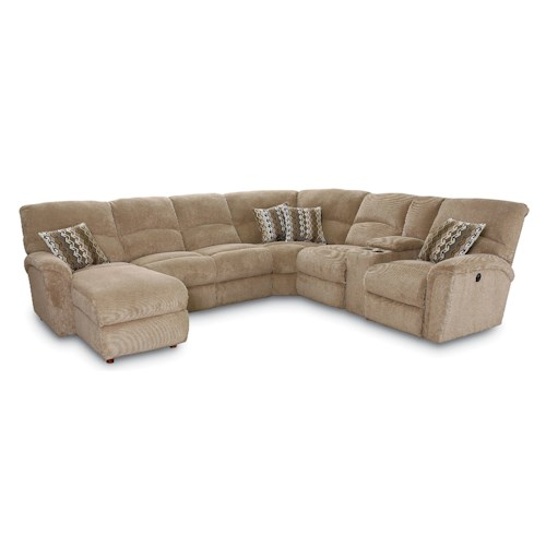 Lane Grand Torino Casual Four Piece Power Sectional Sofa w/ RAF Console Loveseat