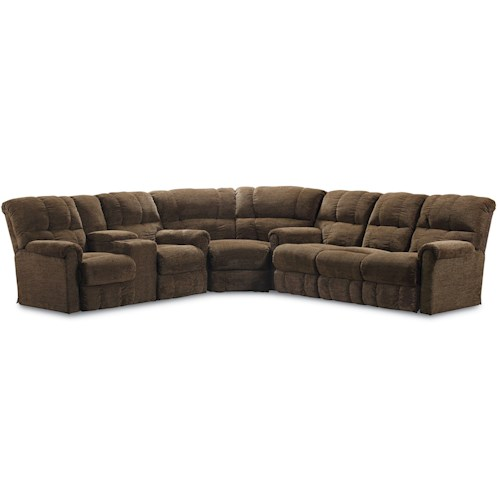 Lane Griffin Casual Three Piece Reclining Sectional Sofa with Four Recliners and Drink Console
