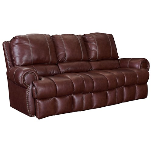 Lane McArthur Double Reclining Sofa with Nail Head Trim