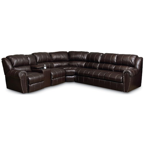 Lane Summerlin Traditional Reclining Sectional Sofa with Sleeper and Nail Head Trim Accents