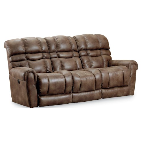 Lane Trenton Casual Power Double Reclining Sofa with Padded Back and Footrest