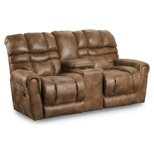 Lane Trenton Casual Double Reclining Loveseat with Storage Console
